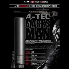"""Tlumič A-TEC, Marksman, modulový, ráže do 338"""" (8,5mm), na úsťovou brzdu Accuracy Intl."""
